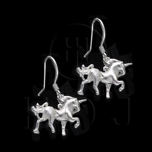 Silver Plain Dangle Earrings Unicorn (ED4356)