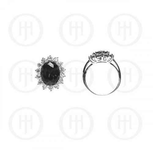 Silver Rhodium Plated CZ Royal Wedding Inspired Ring (Black) (R-1034-B)