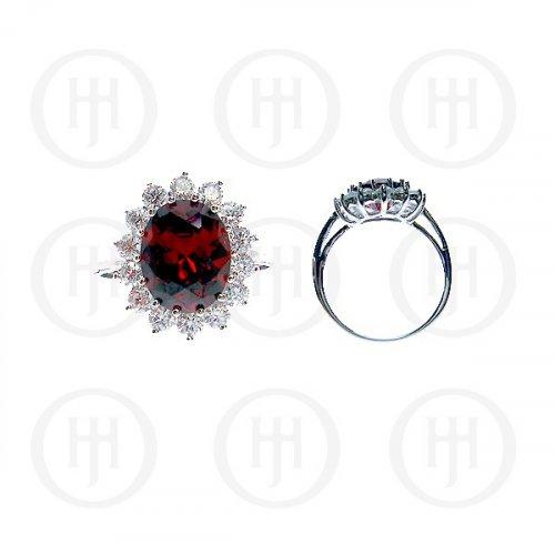Silver Rhodium Plated CZ Royal Wedding Inspired Ring (Garnet) (R-1034-G-ADJ)