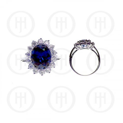 Silver Rhodium Plated CZ Royal Wedding Inspired Ring Sapphire (R-1034-S)