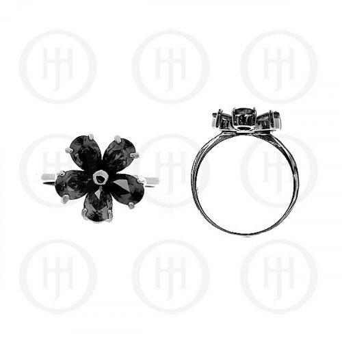 Silver Rhodium Plated Colourful Flower CZ Ring, Black (R-1074-B)