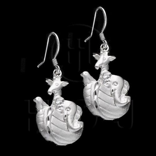 Silver Plain Dangle Earrings Noah's Ark (ED4359)