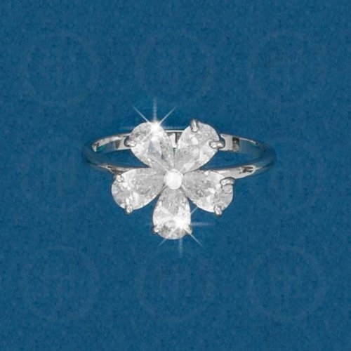 Silver Rhodium Plated Colourful Flower CZ Ring, White (R-1074-W)