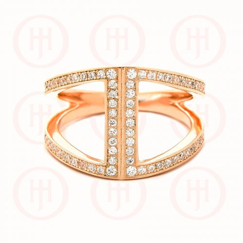Rose Gold Trendy CZ Ring (R-1324-R)