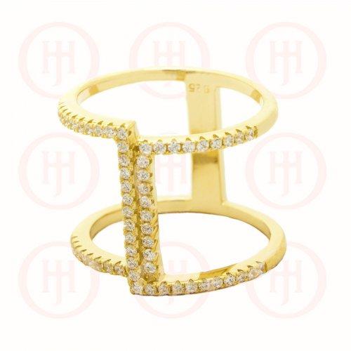 Silver Trendy CZ Ring (R-1323-G)