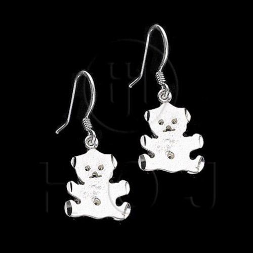 Silver Plain Dangle Earrings Bear (ED4880)