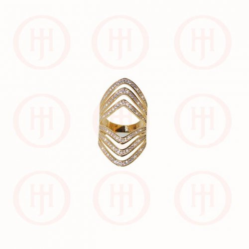 Silver Gold Plated CZ 3 Layer Chevron Mirrored Ring (R-1295-G)