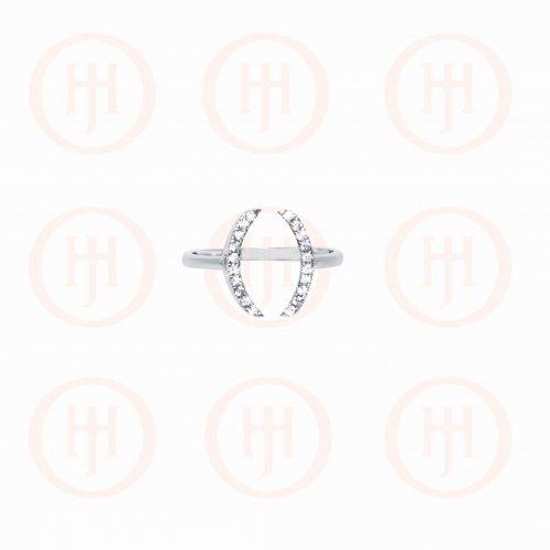 Silver Rhodium Plated CZ Oval Cuff Ring (R-1291)