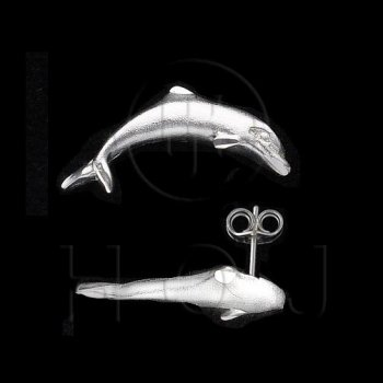 Silver Plain Stud Earrings Dolphin (ST-1010)