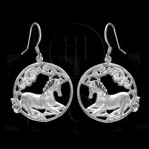 Silver Plain Dangle Earrings Unicorn (ESD132)