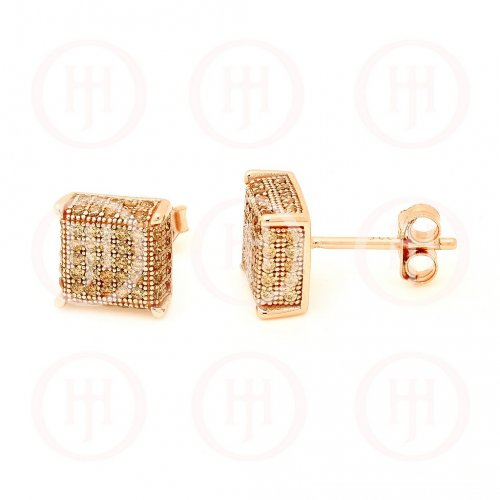 Sterling Silver 3D CZ Square Stud Earrings (ST-1162)