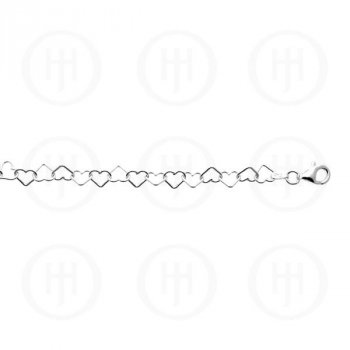 Silver Plain Anklet Heart Chain (ANK-1007)