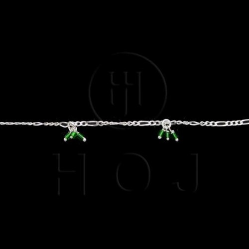 Silver Stone Colorful Anklet Green (ANK-1018)