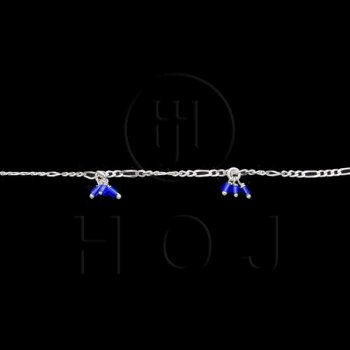 Silver Stone Colorful Anklet Blue (ANK-1014)
