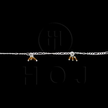 Silver Stone Colorful Anklet Yellow (ANK-1021)