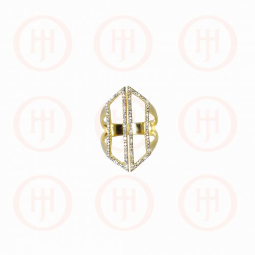 Silver Gold Plated Long CZ Cuff Ring (R-1267-G)