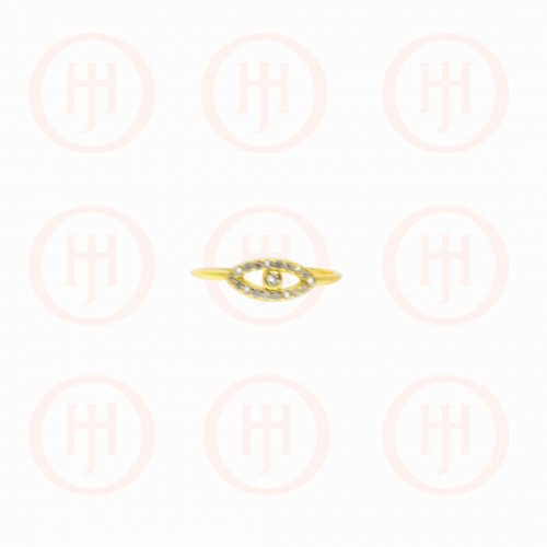 Silver Gold Plated CZ Evil Eye Ring (R-1270-G)