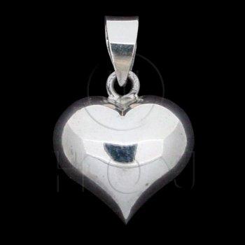 Silver Puffed Heart Pendant 15mm (P-1002-15)