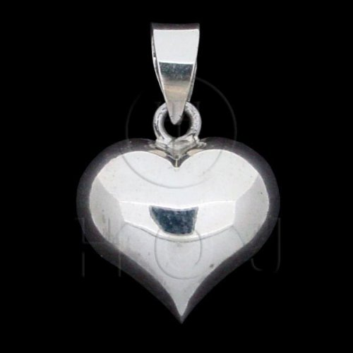 Silver Puffed Heart Pendant 15mm (P-1002-15)