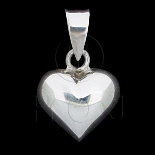 Silver Puffed Heart Pendant 12mm (P-1002-12)
