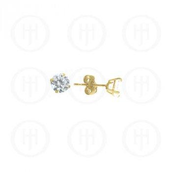 10K Gold Earrings Round CZ Stud 5mm(G-CZ-5-10K)