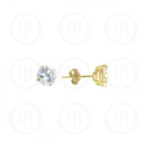 10K Gold Earrings Round CZ Stud 6mm(G-CZ-6-10K)