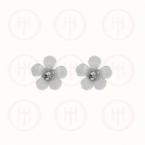 Silver Assorted Acrylic CZ Flower Stud Earring, Green (ST-1134-G)