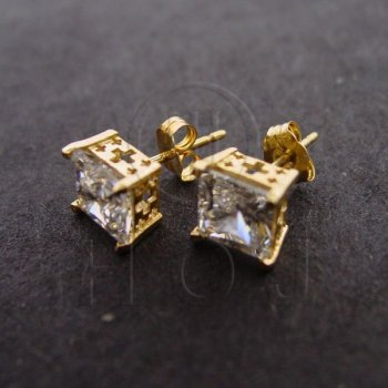 14K Gold Earrings Square CZ Stud 4mm