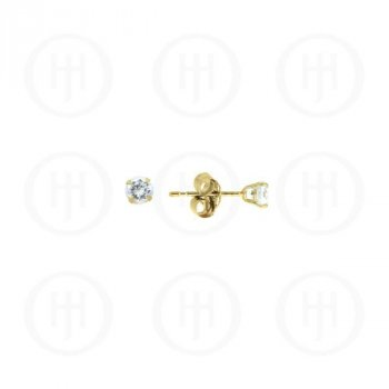 10K Gold Earrings Round CZ Stud 3mm(G-CZ-3_10K)