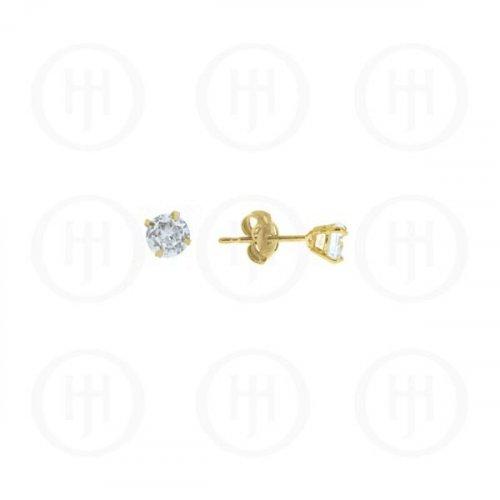 10K Gold Earrings Round CZ Stud 4mm(G-CZ-4-10K)