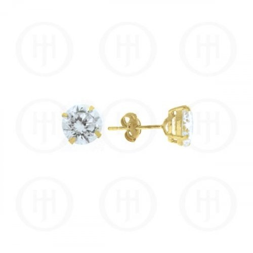 10K Gold Earrings Round CZ Stud 7mm(G-CZ-7-10K)