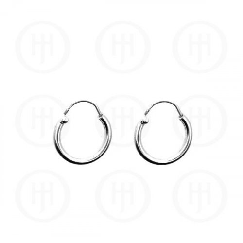 Silver Plain Hoop 13 x 2mm (13-15)