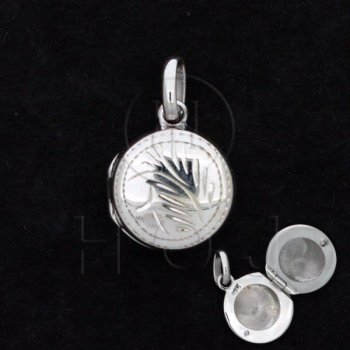 Sterling Silver Engraved Locket Pendant Round 13mm (LOC-RE-1007)