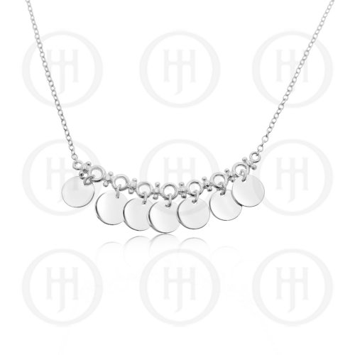 Silver Chain Necklace with Seven Attached Flat Circle Pendants on Bar (N-1168)