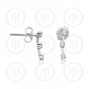 Silver Curved Bar with 3 CZ Studs (ST-1186)