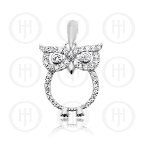 Sterling Silver CZ Owl Pendant (P-1322)