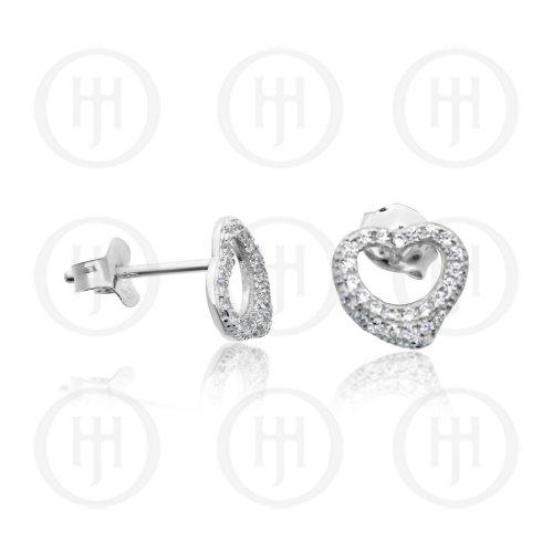 Silver Open Heart CZ Earrings (ST-1196)