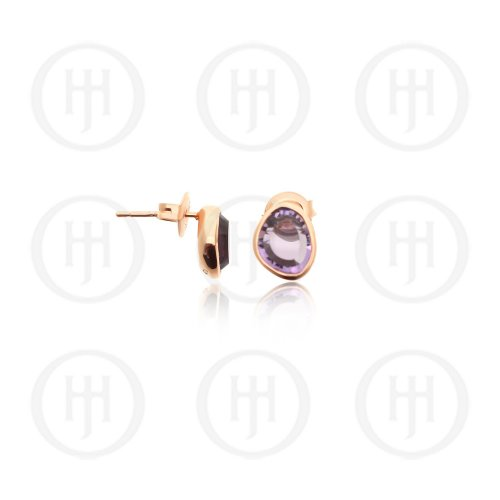 Sterling Silver Rose Plated Amethyst Studs (ST-1190)