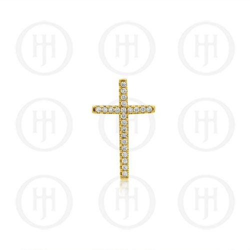 Sterling Silver Plated CZ Cross (CR-1065)