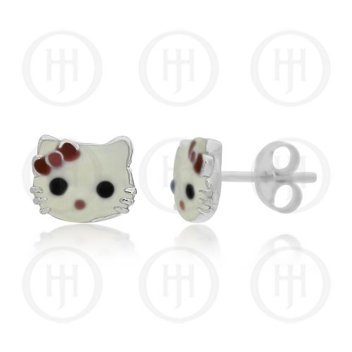 f07f84c10 Sterling Silver Enamel Hello Kitty Studs (ST-1169) - House of Jewellery