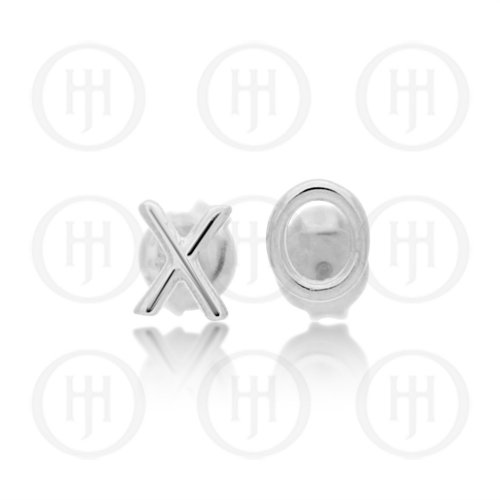 Sterling Silver Plain XO Stud Earrings (ST-1184)