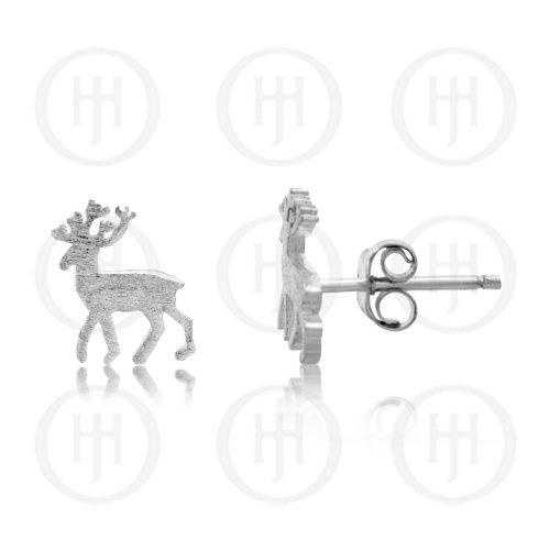 Silver Plain Reindeer Studs (ST-1172)