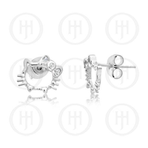 Plain Hollow Hello Kitty Studs with CZ Bezel Bow (ST-1180)