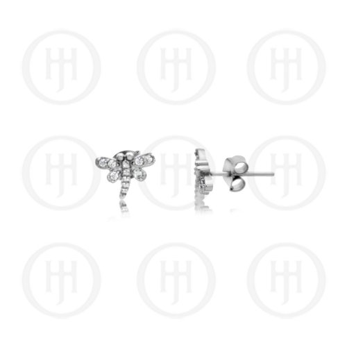 Silver Plain Dragonfly Studs with Bezel Wings (ST-1179)