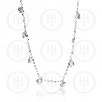 Silver Rhodium Plated Bracelet with CZ Disco Balls (BR-1107)
