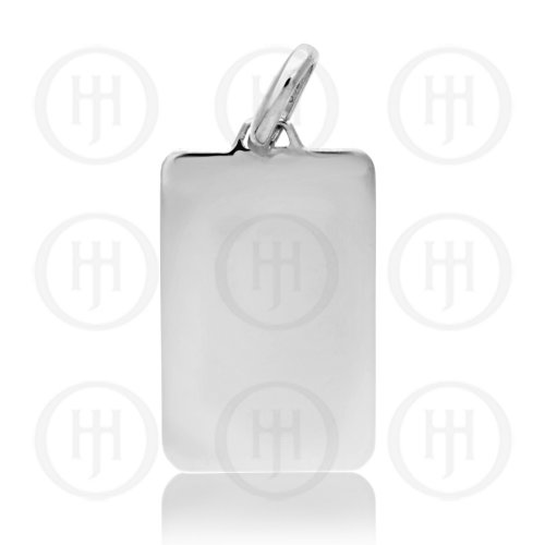 Silver Plain Round Rectangle Dog Tag (DT-115)