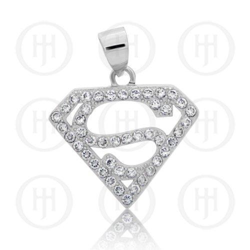 Silver CZ Superman Pendant (P-1303)