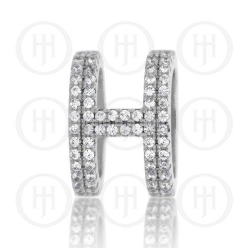 Silver CZ Thick H-Shaped Pendant (P-1304)
