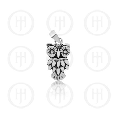 Silver Plain Layered Owl Pendant with Bead Eyes (P-1308)