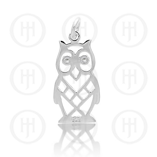 Silver Hollow Owl Pendant with CZ Eyes (P-1310)